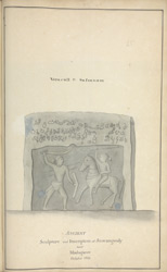 A Hero Stone. 'Veracull of Sassanum. Ancient Sculpture and Inscription at Sravangoody near Madagasee October 1801.'